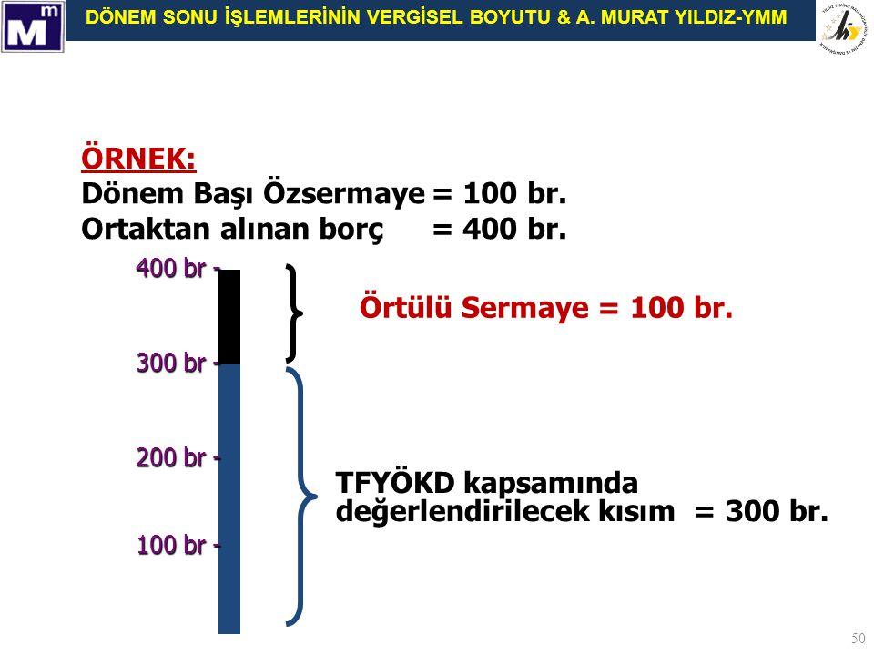 Dönem Başı Özsermaye = 100 br. Ortaktan alınan borç = 400 br.