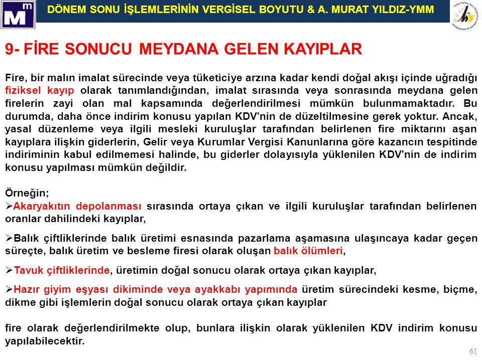 9- FİRE SONUCU MEYDANA GELEN KAYIPLAR