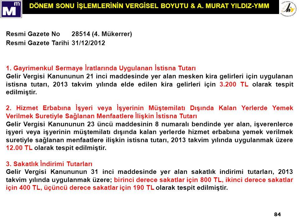 Resmi Gazete No 28514 (4. Mükerrer) Resmi Gazete Tarihi. 31/12/2012. 1. Gayrimenkul Sermaye İratlarında Uygulanan İstisna Tutarı.
