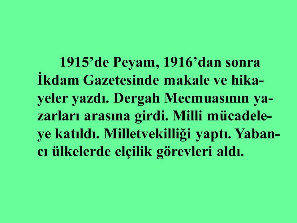 1915'de Peyam, 1916'dan sonra İkdam Gazetesinde makale ve hika- yeler yazdı. Dergah Mecmuasının ya-