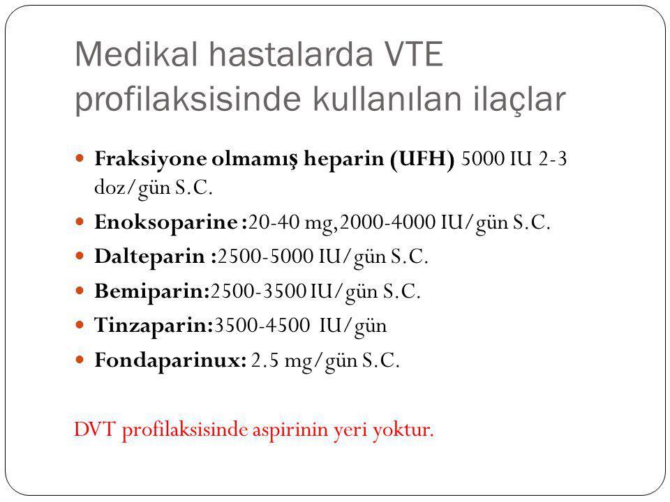 Medikal hastalarda VTE profilaksisinde kullanılan ilaçlar