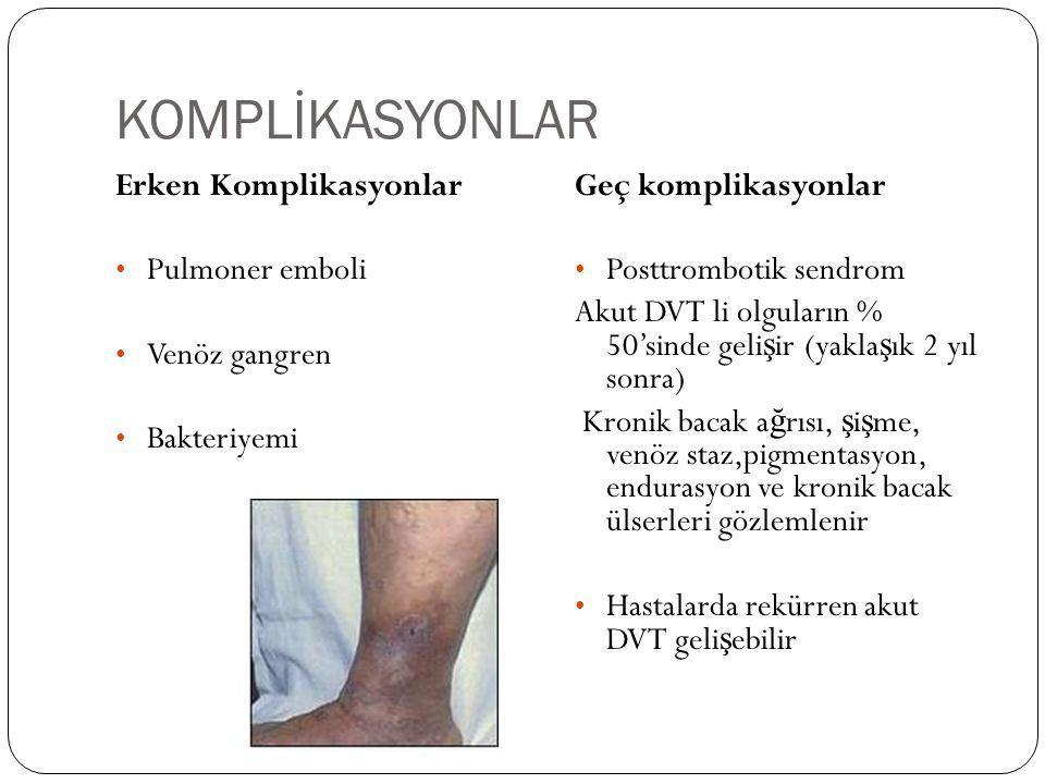 KOMPLİKASYONLAR Erken Komplikasyonlar Pulmoner emboli Venöz gangren