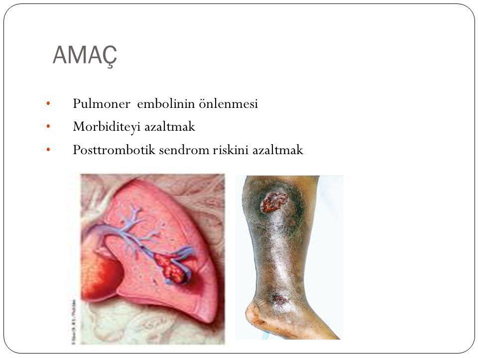 AMAÇ Pulmoner embolinin önlenmesi Morbiditeyi azaltmak