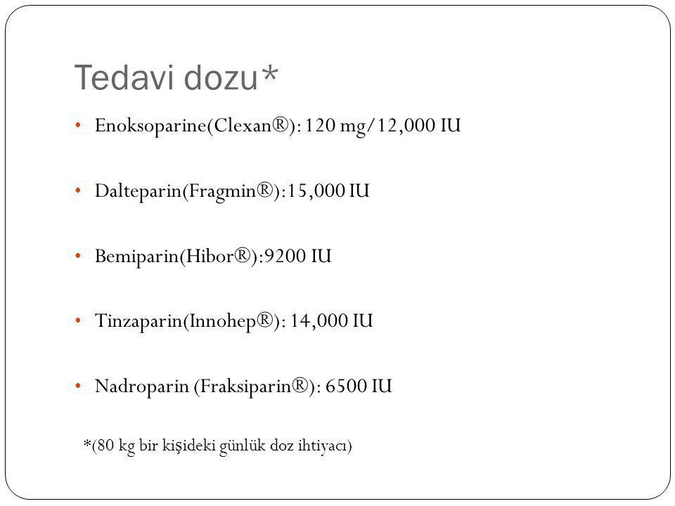 Tedavi dozu* Enoksoparine(Clexan®): 120 mg/12,000 IU