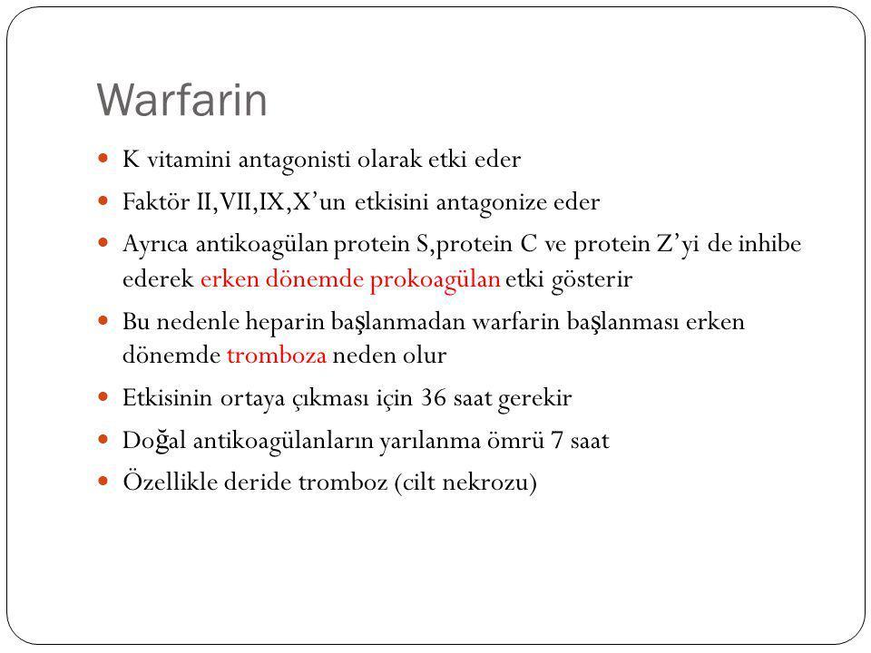 Warfarin K vitamini antagonisti olarak etki eder