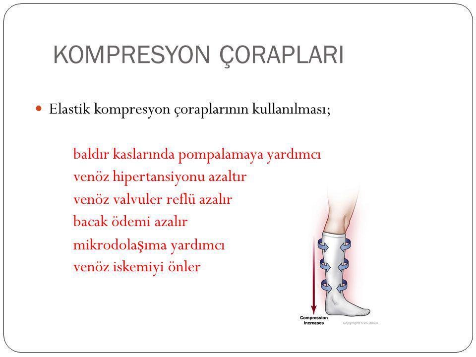KOMPRESYON ÇORAPLARI Elastik kompresyon çoraplarının kullanılması;