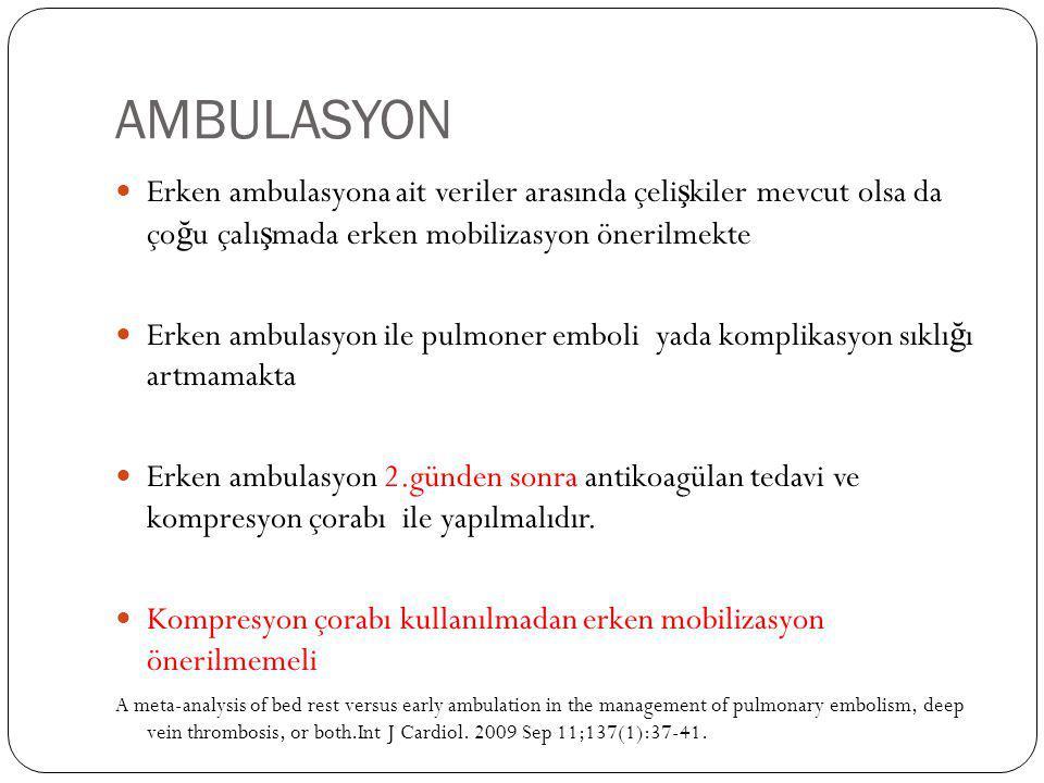 AMBULASYON Erken ambulasyona ait veriler arasında çelişkiler mevcut olsa da çoğu çalışmada erken mobilizasyon önerilmekte.