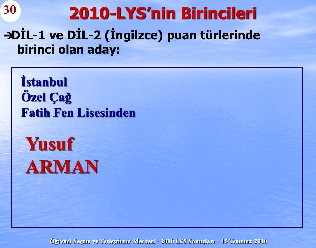 DİL-1 ve DİL-2 (İngilzce) puan türlerinde birinci olan aday: