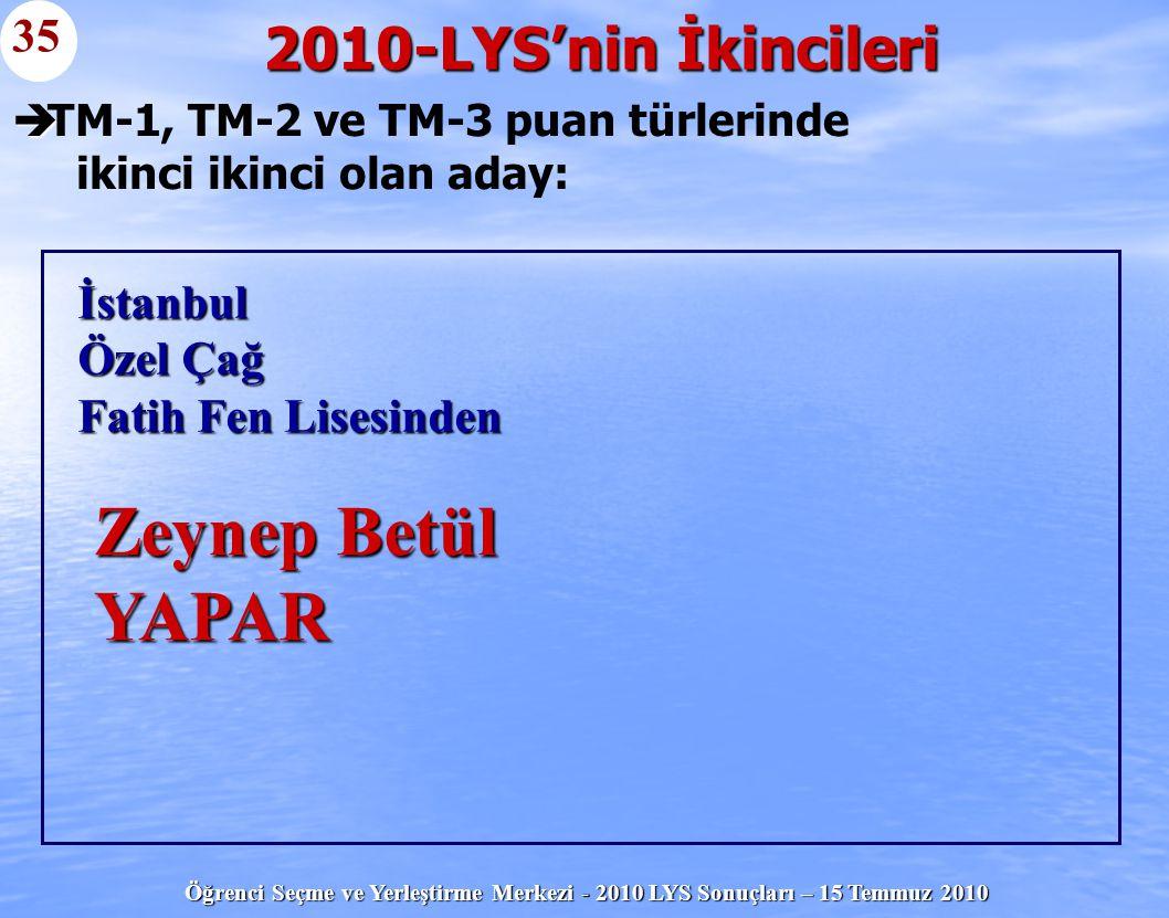TM-1, TM-2 ve TM-3 puan türlerinde ikinci ikinci olan aday: