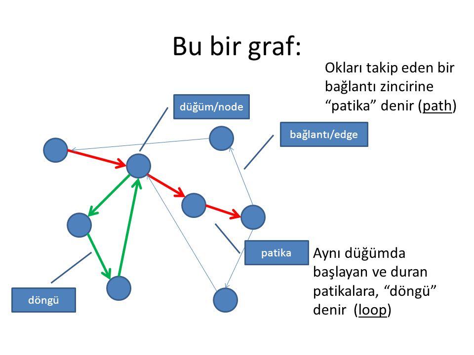 Bu bir graf: Okları takip eden bir bağlantı zincirine patika denir (path) düğüm/node. bağlantı/edge.