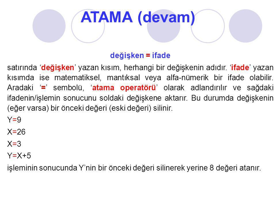 ATAMA (devam) değişken = ifade