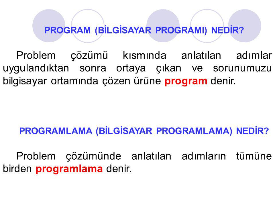 Problem çözümünde anlatılan adımların tümüne birden programlama denir.