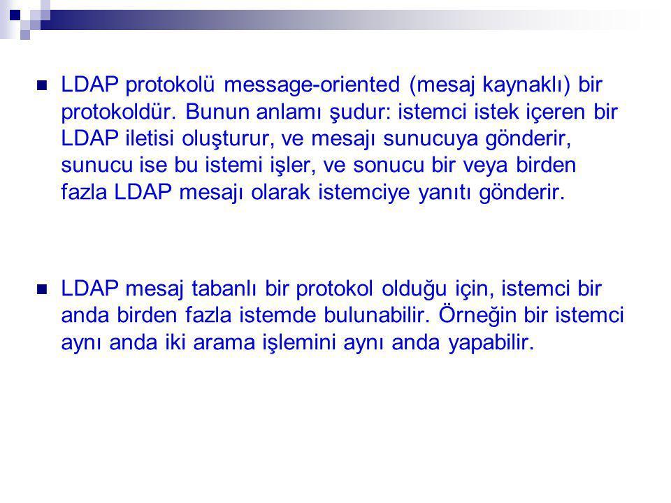 LDAP protokolü message-oriented (mesaj kaynaklı) bir protokoldür