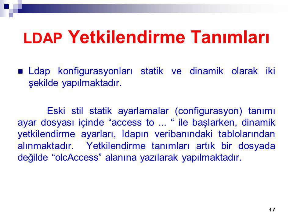 LDAP Yetkilendirme Tanımları