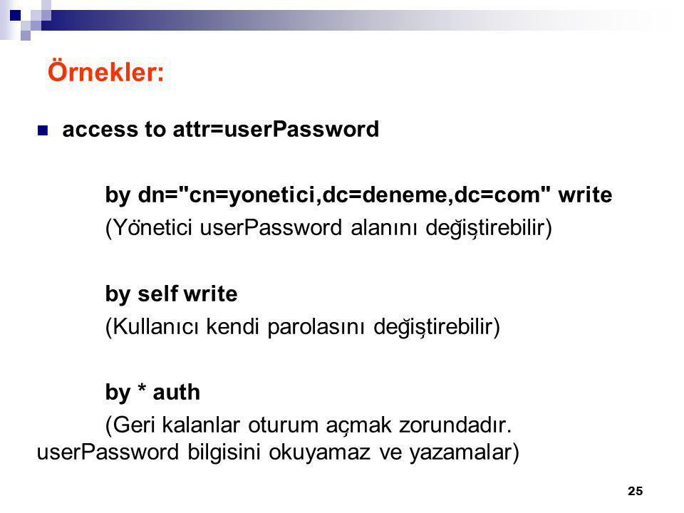 Örnekler: access to attr=userPassword