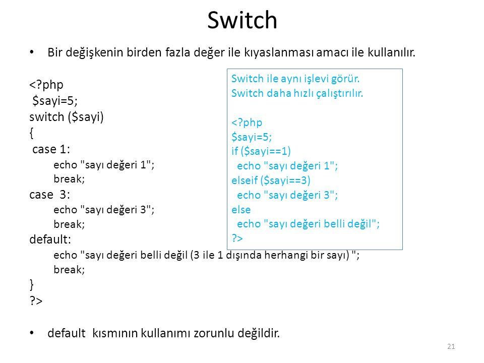 Switch Bir değişkenin birden fazla değer ile kıyaslanması amacı ile kullanılır. < php. $sayi=5; switch ($sayi)