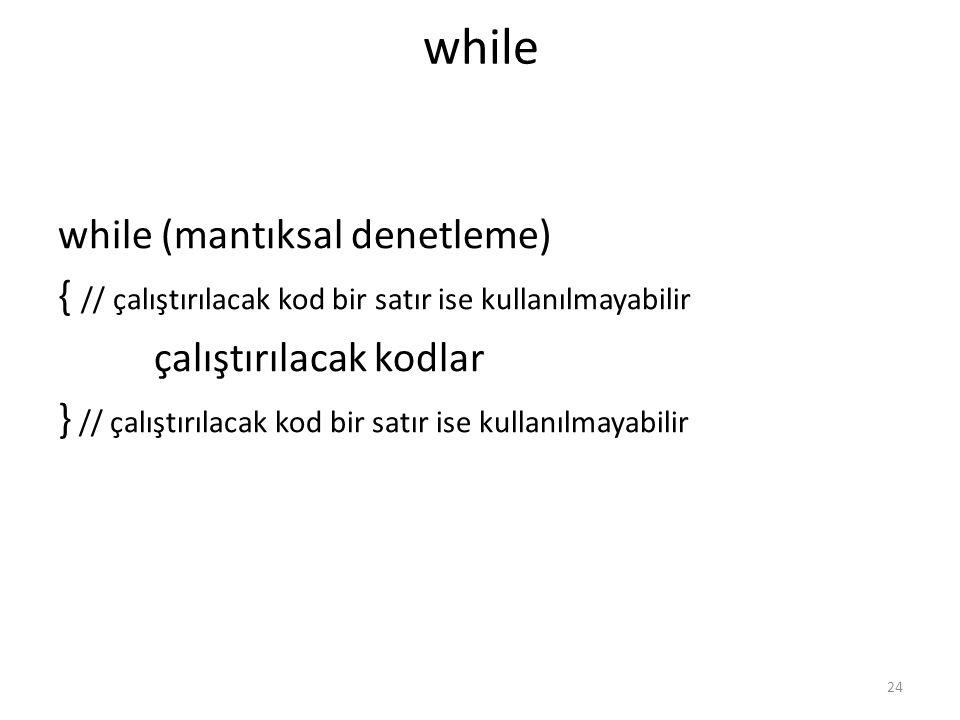 while while (mantıksal denetleme)