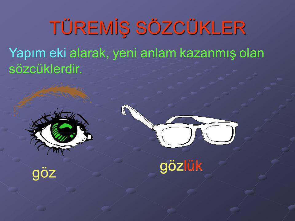 TÜREMİŞ SÖZCÜKLER gözlük gözlük göz