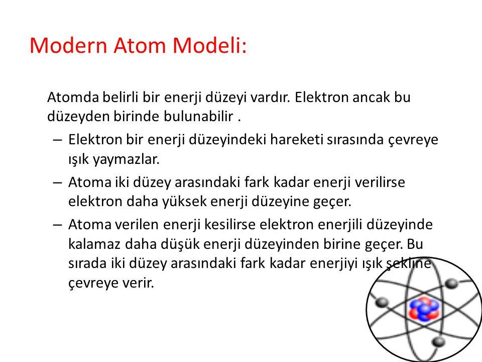 Modern Atom Modeli: Atomda belirli bir enerji düzeyi vardır. Elektron ancak bu düzeyden birinde bulunabilir .