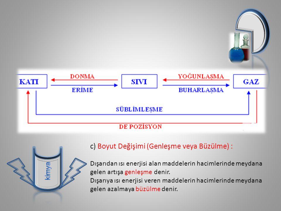 c) Boyut Değişimi (Genleşme veya Büzülme) :