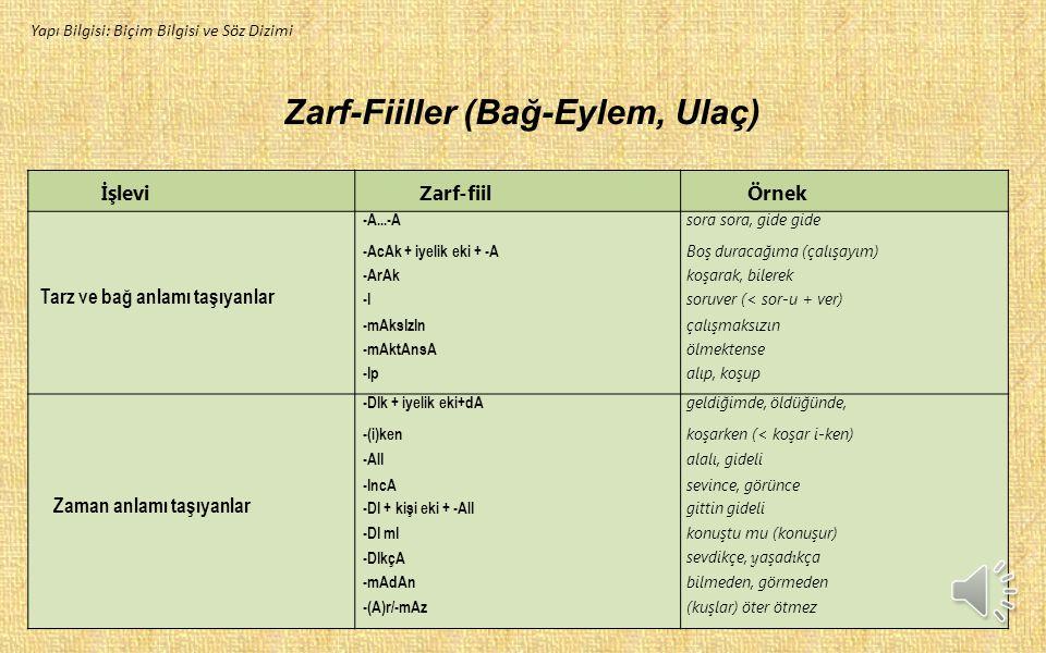 Zarf-Fiiller (Bağ-Eylem, Ulaç)