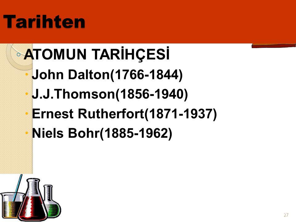 Tarihten ATOMUN TARİHÇESİ John Dalton(1766-1844)