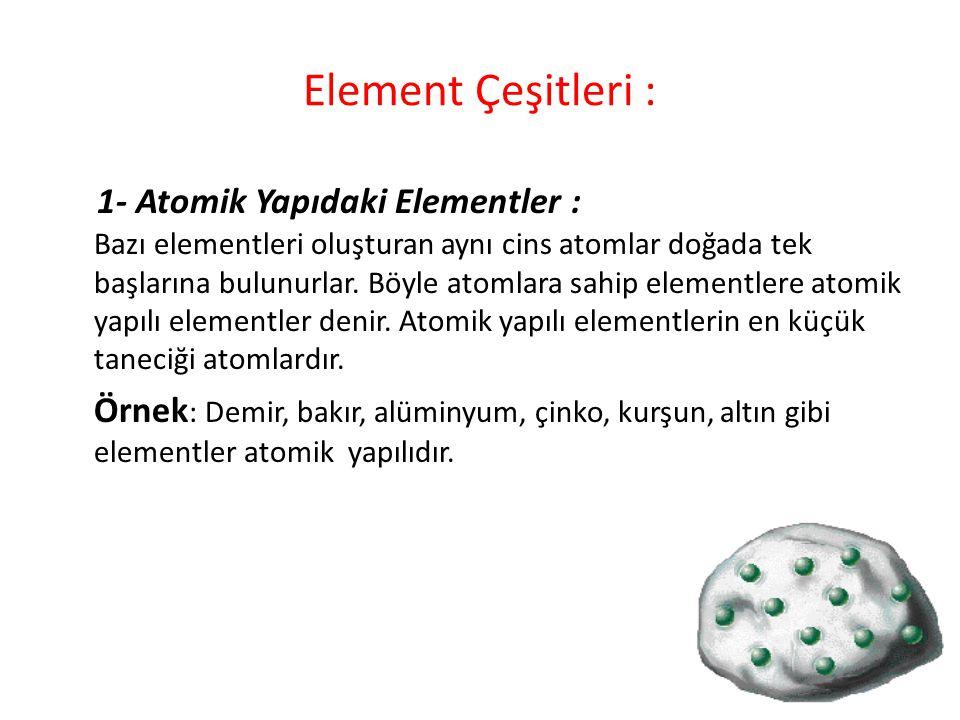 Element Çeşitleri :