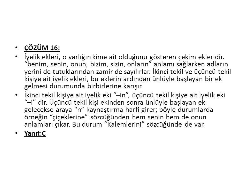 ÇÖZÜM 16: