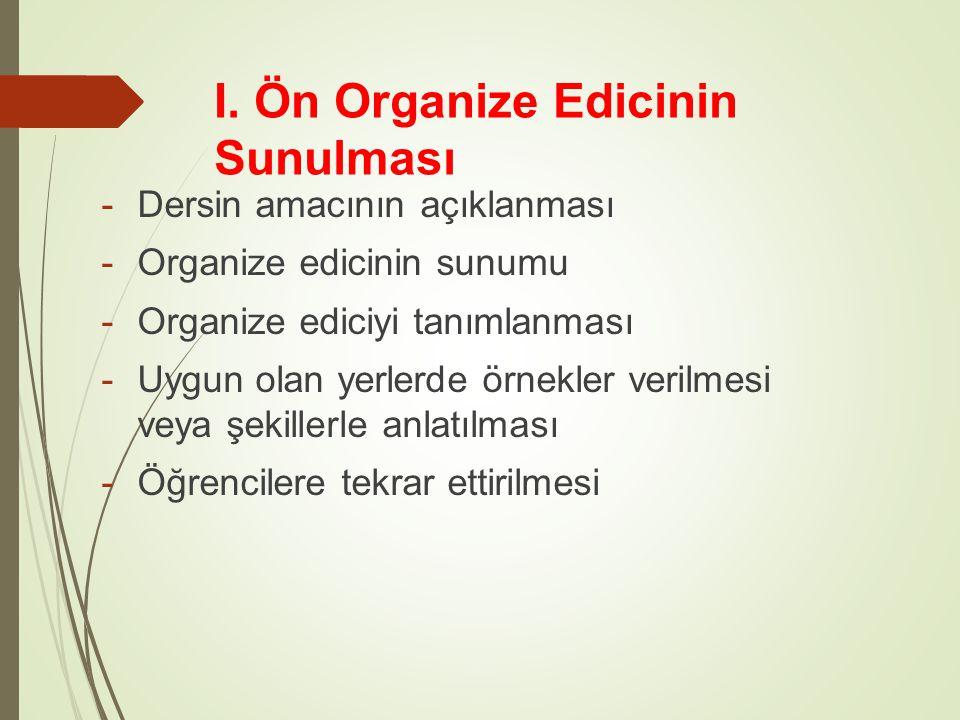 I. Ön Organize Edicinin Sunulması