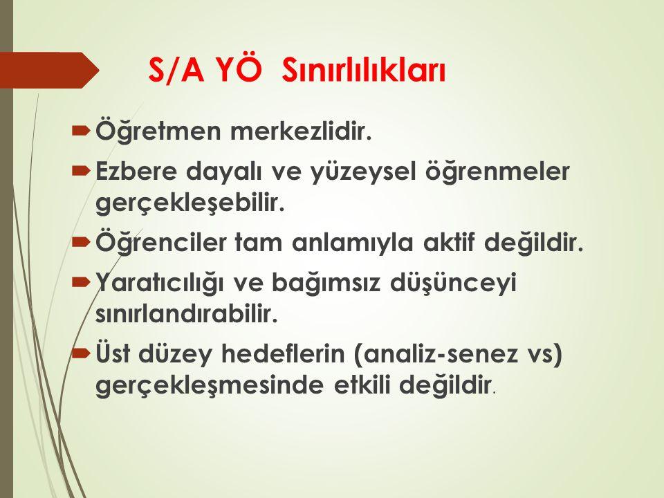 S/A YÖ Sınırlılıkları Öğretmen merkezlidir.