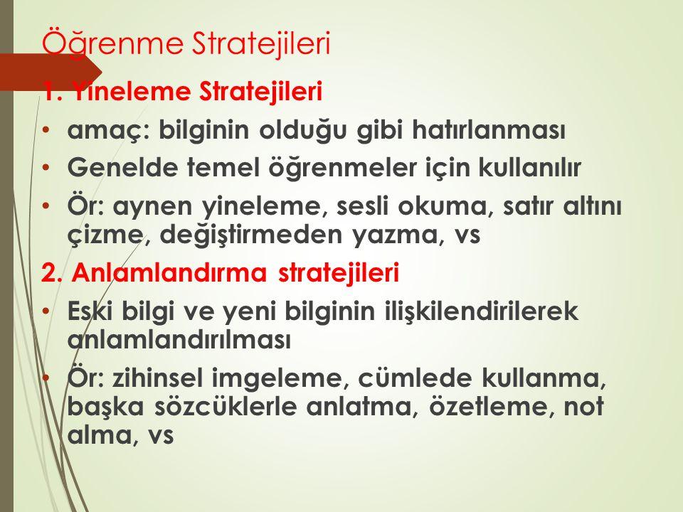 Öğrenme Stratejileri 1. Yineleme Stratejileri