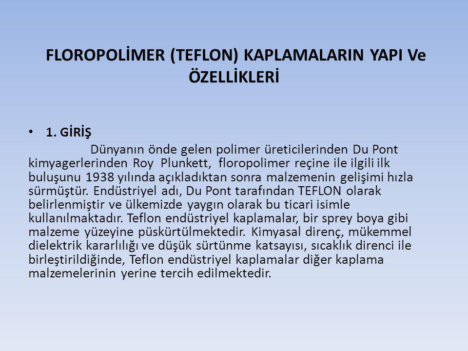 FLOROPOLİMER (TEFLON) KAPLAMALARIN YAPI Ve ÖZELLİKLERİ
