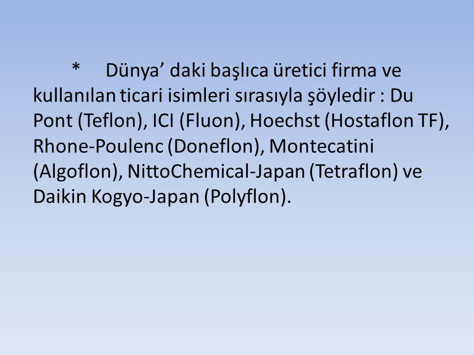 * Dünya' daki başlıca üretici firma ve kullanılan ticari isimleri sırasıyla şöyledir : Du Pont (Teflon), ICI (Fluon), Hoechst (Hostaflon TF), Rhone-Poulenc (Doneflon), Montecatini (Algoflon), NittoChemical-Japan (Tetraflon) ve Daikin Kogyo-Japan (Polyflon).
