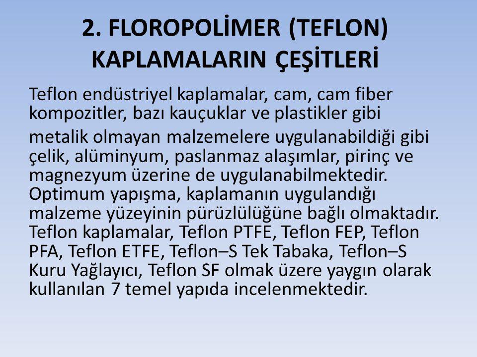 2. FLOROPOLİMER (TEFLON) KAPLAMALARIN ÇEŞİTLERİ