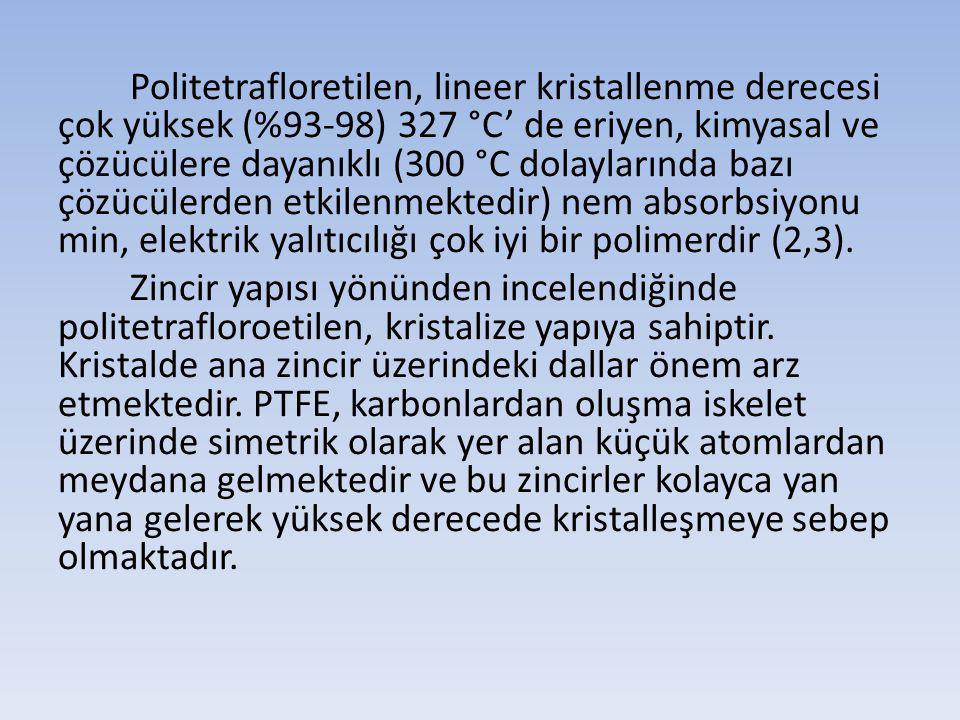 Politetrafloretilen, lineer kristallenme derecesi çok yüksek (%93-98) 327 °C' de eriyen, kimyasal ve çözücülere dayanıklı (300 °C dolaylarında bazı çözücülerden etkilenmektedir) nem absorbsiyonu min, elektrik yalıtıcılığı çok iyi bir polimerdir (2,3).