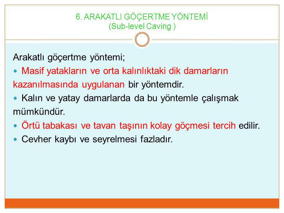 6. ARAKATLI GÖÇERTME YÖNTEMİ (Sub-level Caving )