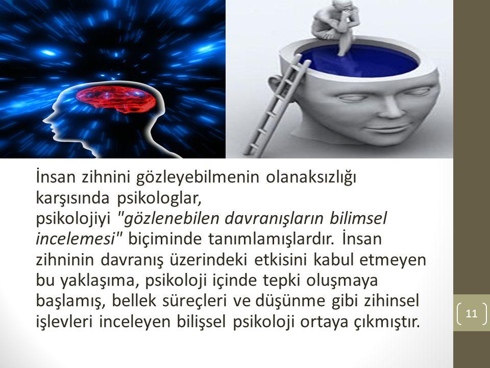 İnsan zihnini gözleyebilmenin olanaksızlığı karşısında psikologlar, psikolojiyi gözlenebilen davranışların bilimsel incelemesi biçiminde tanımlamışlardır.
