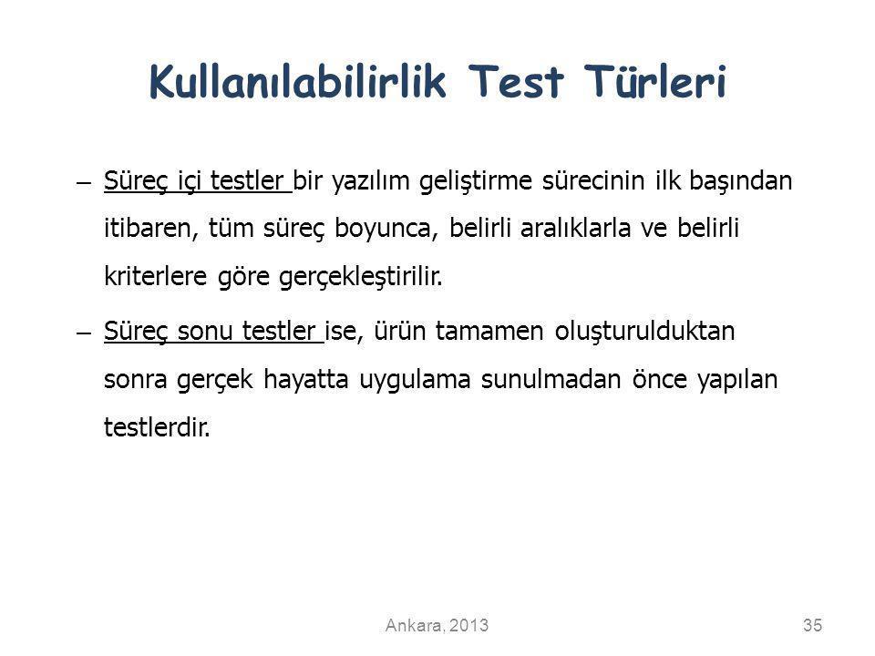 Kullanılabilirlik Test Türleri