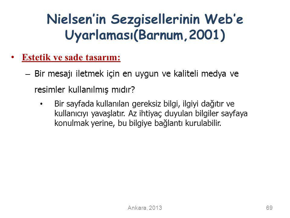 Nielsen'in Sezgisellerinin Web'e Uyarlaması(Barnum,2001)