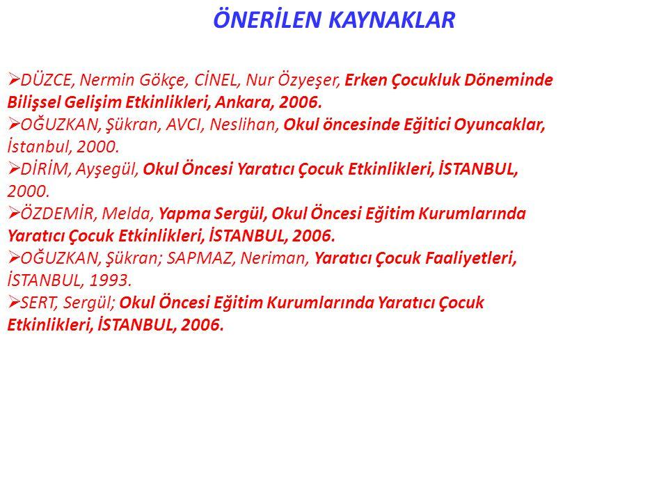 ÖNERİLEN KAYNAKLAR DÜZCE, Nermin Gökçe, CİNEL, Nur Özyeşer, Erken Çocukluk Döneminde. Bilişsel Gelişim Etkinlikleri, Ankara, 2006.