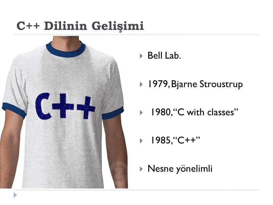 C++ Dilinin Gelişimi Bell Lab. 1979, Bjarne Stroustrup