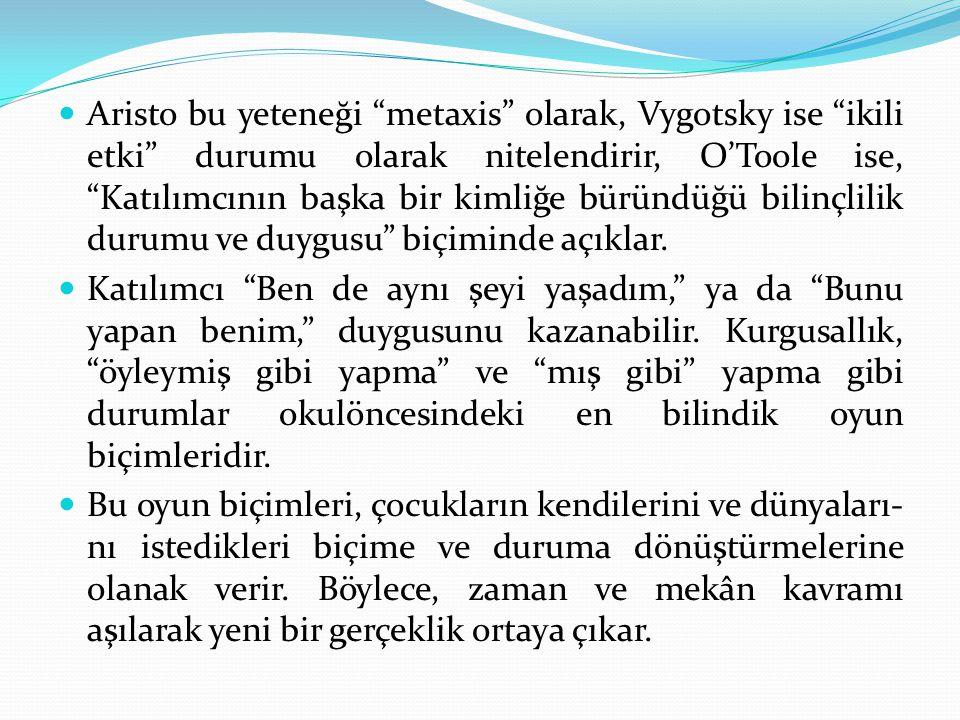 Aristo bu yeteneği metaxis olarak, Vygotsky ise ikili etki durumu olarak nitelendirir, O'Toole ise, Katılımcının başka bir kimliğe büründüğü bilinçlilik durumu ve duygusu biçiminde açıklar.