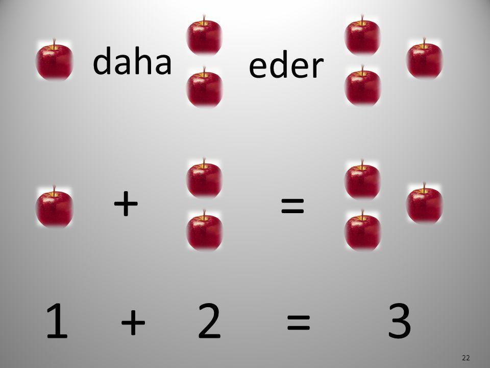 daha eder + = 1 + 2 = 3 22