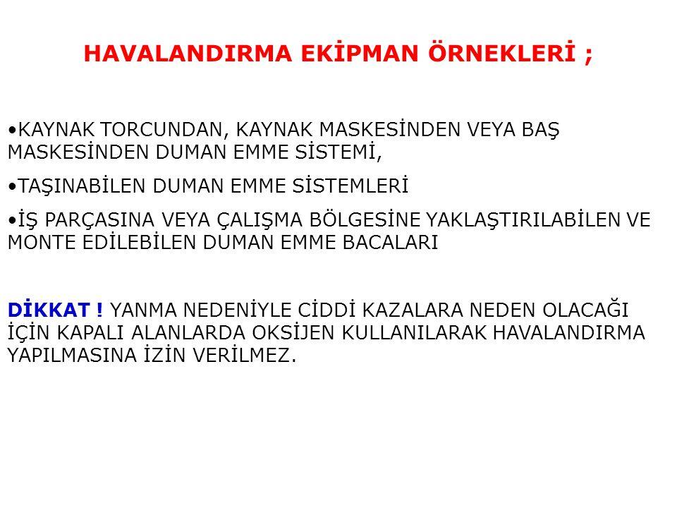 HAVALANDIRMA EKİPMAN ÖRNEKLERİ ;