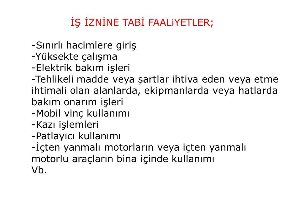İŞ İZNİNE TABİ FAALiYETLER;