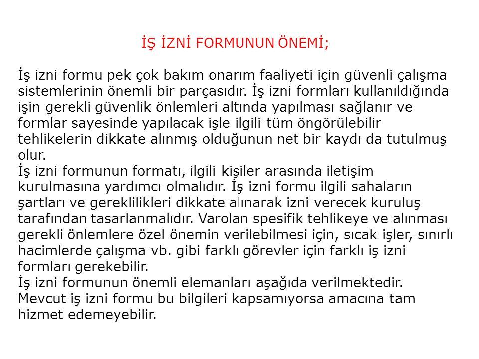 İŞ İZNİ FORMUNUN ÖNEMİ;