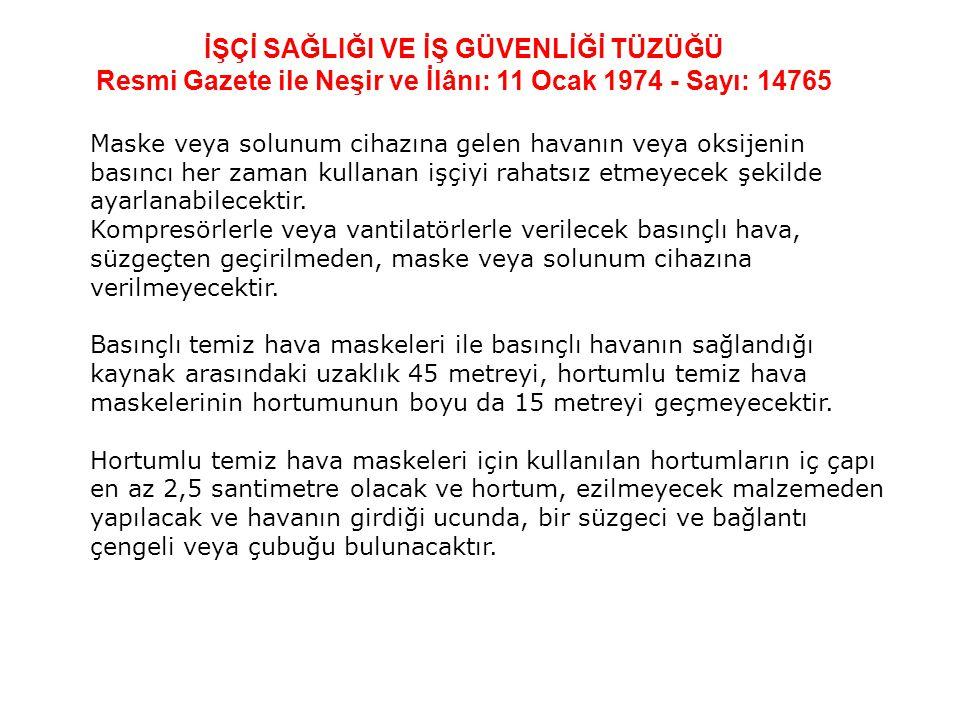 İŞÇİ SAĞLIĞI VE İŞ GÜVENLİĞİ TÜZÜĞÜ Resmi Gazete ile Neşir ve İlânı: 11 Ocak 1974 - Sayı: 14765