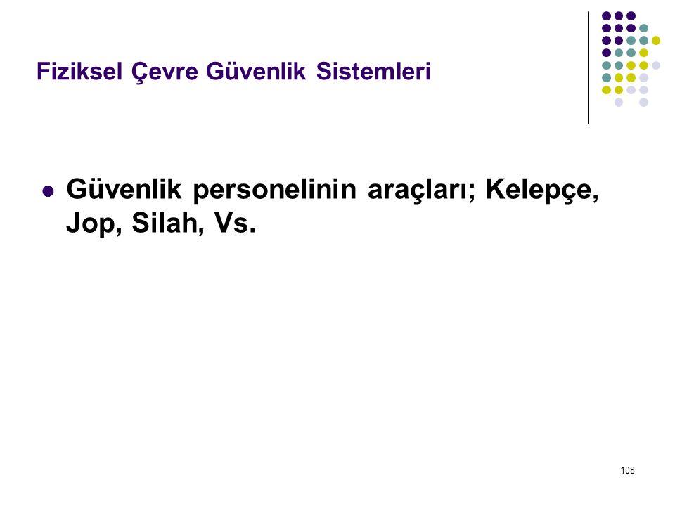 Güvenlik personelinin araçları; Kelepçe, Jop, Silah, Vs.