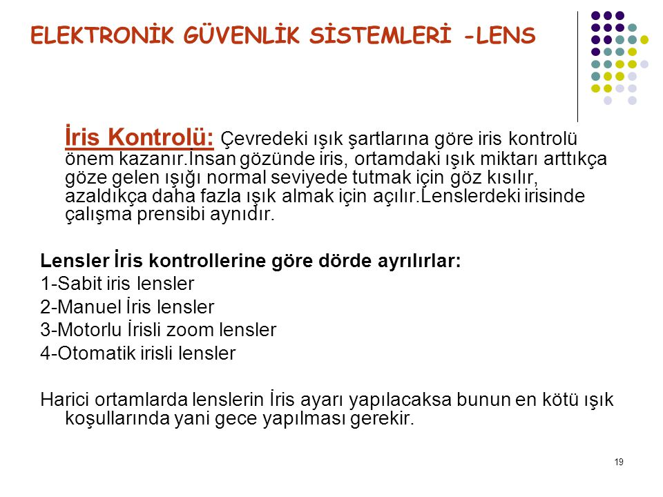 ELEKTRONİK GÜVENLİK SİSTEMLERİ -LENS