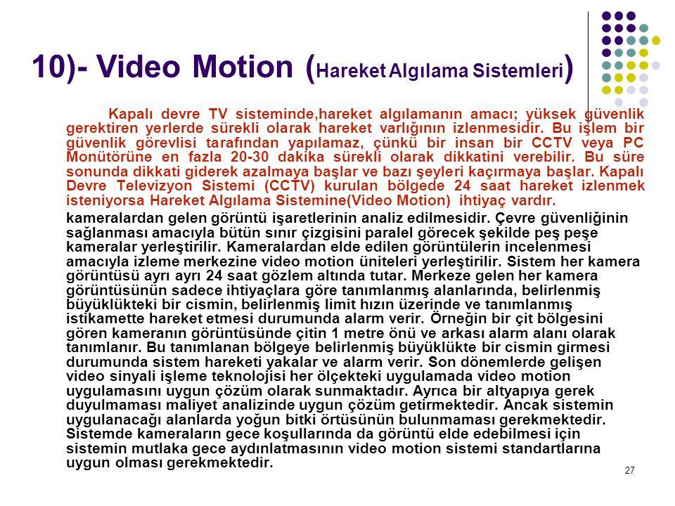 10)- Video Motion (Hareket Algılama Sistemleri)